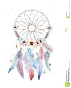 isolated-watercolor-decoration-bohemian-dreamcatcher-boho-feath-feathers-native-dream-chic-design-mystery-etnic-tribal-print-85098958